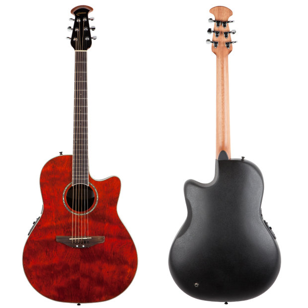 Ovation CC-28 Shallow Bowl Acoustic/Elec Guitar in Ruby Red
