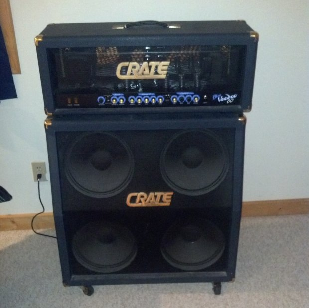 crate blue voodoo 60 head and matching 4x12 cab reverb. Black Bedroom Furniture Sets. Home Design Ideas