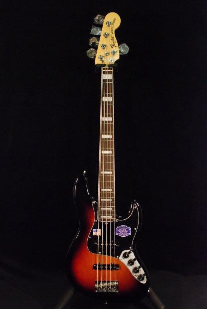 fender american deluxe jazz bass v five string 3 color sunburst reverb. Black Bedroom Furniture Sets. Home Design Ideas