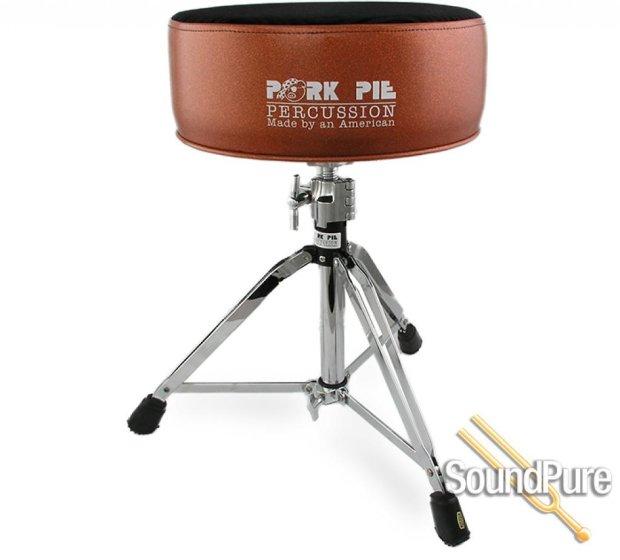 pork pie percussion round drum throne orange black swirl reverb. Black Bedroom Furniture Sets. Home Design Ideas