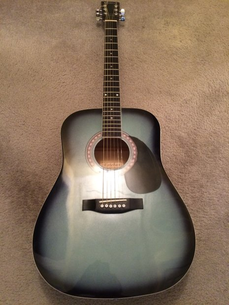 esteban acoustic guitar mid 2000 39 s black silver blue reverb. Black Bedroom Furniture Sets. Home Design Ideas