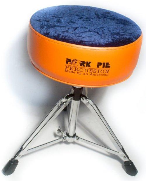pork pie round throne standard base flat orange sides navy crush top reverb. Black Bedroom Furniture Sets. Home Design Ideas