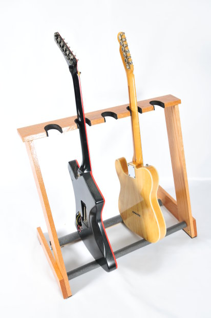 5 Space Electric Red Oak Folding Guitar Stand From Allwood