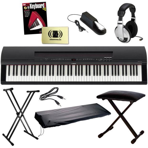 Yamaha p 255 contemporary portable digital piano black for Yamaha p105 digital piano bundle