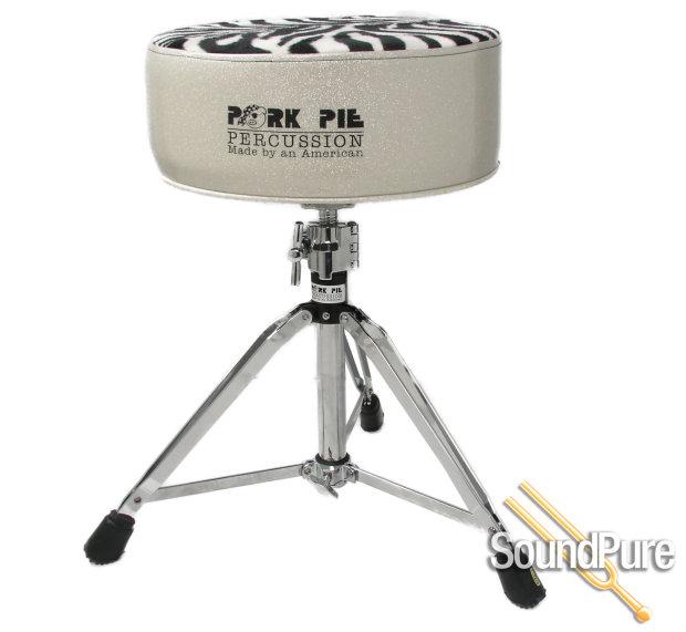pork pie percussion round drum throne sparkle silver zebra reverb. Black Bedroom Furniture Sets. Home Design Ideas