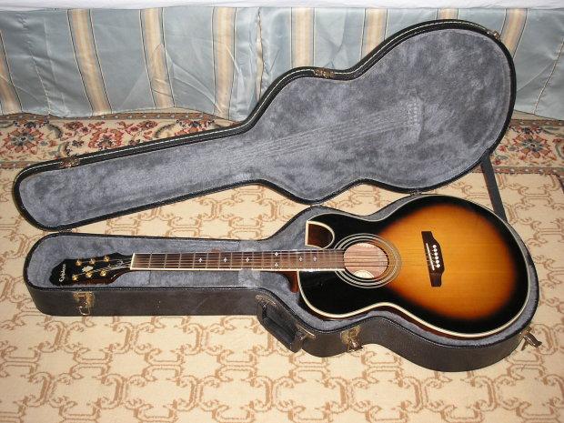 Epiphone Pr5 E Acoustic Electric Vintage Sunburst W Ohsc