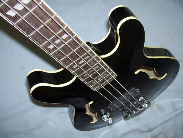 left handed bass guitar semi hollow body black reverb. Black Bedroom Furniture Sets. Home Design Ideas