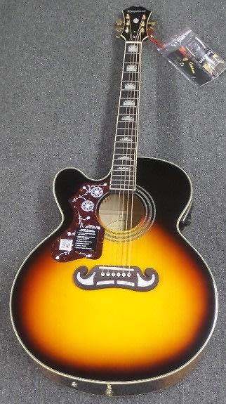 epiphone limited edition ej 200sce left handed acoustic electric guitar vintage sunburst image. Black Bedroom Furniture Sets. Home Design Ideas
