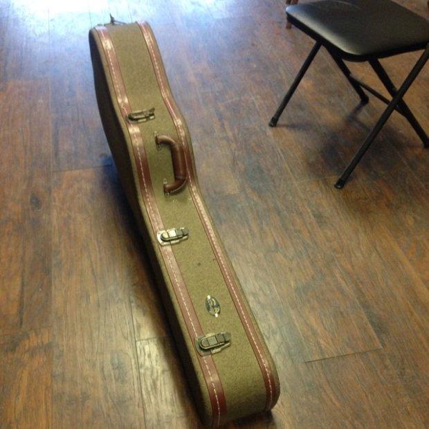 guild grand orchestra acoustic guitar case grey tweed leather reverb. Black Bedroom Furniture Sets. Home Design Ideas
