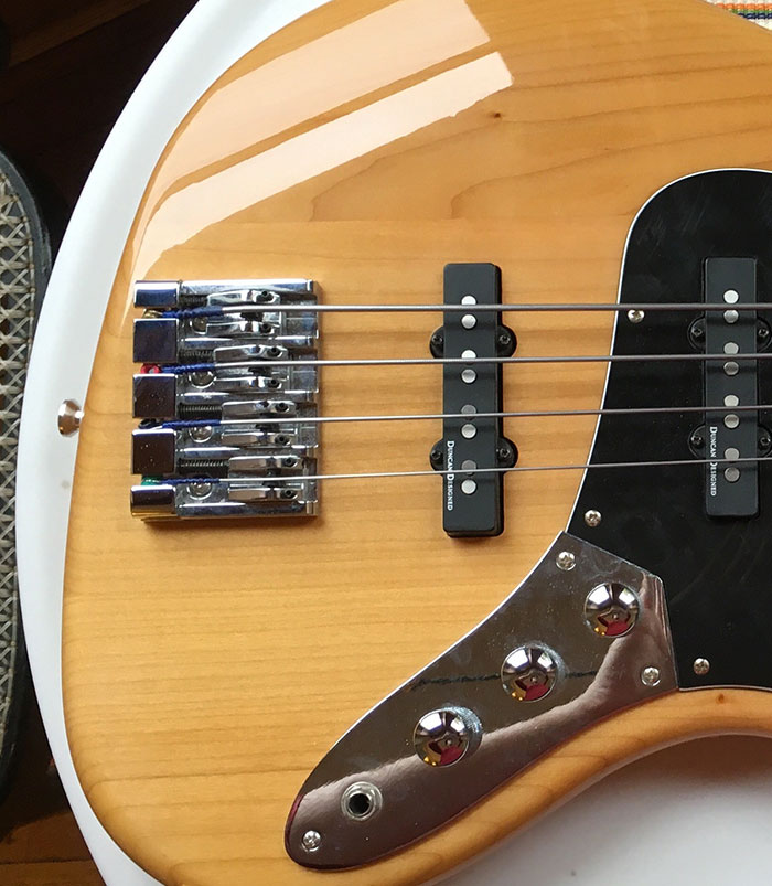 Squier Jazz Bass with an upgraded bridge