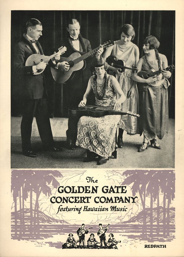 Golden Gate Hawaiian Band, c. 1920s. The guitarist in the center plays a Weissenborn Style 3 or 4. Courtesy of Ben Elder.