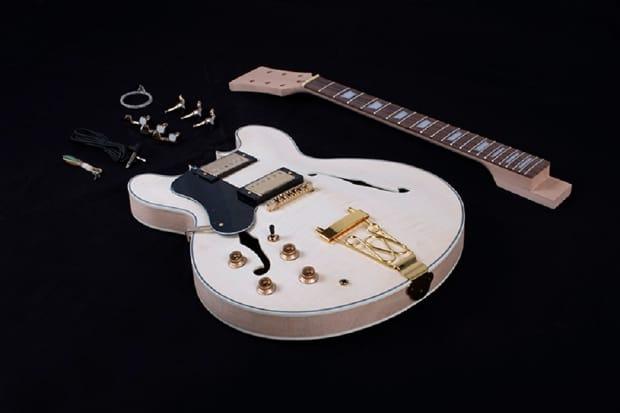 diy left handed semi hollow body electric guitar kit flamed reverb. Black Bedroom Furniture Sets. Home Design Ideas