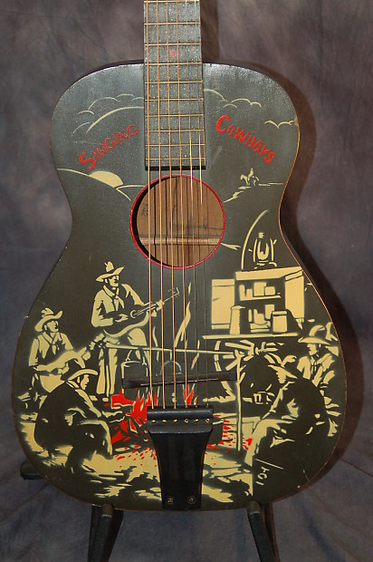 Vintage Rare Supertone Sold By Sear Singing Cowboys Scene