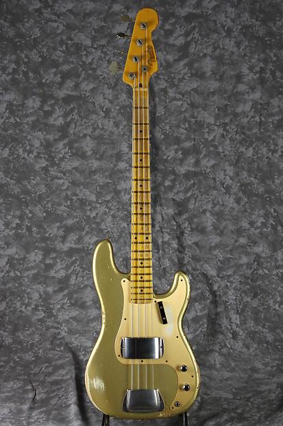 fender custom shop 1957 precision bass heavy relic hle gold reverb. Black Bedroom Furniture Sets. Home Design Ideas