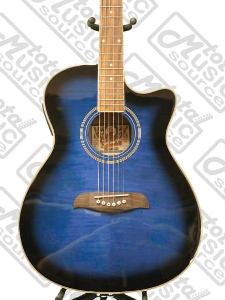 Progressive Auto Sales >> Oscar Schmidt Auditorium Cutaway Trans Blue Acoustic/Electric   Reverb