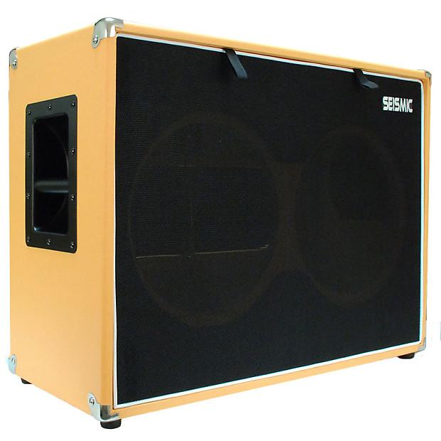 empty orange tolex 2x12 guitar speaker cab cabinet 212 reverb. Black Bedroom Furniture Sets. Home Design Ideas