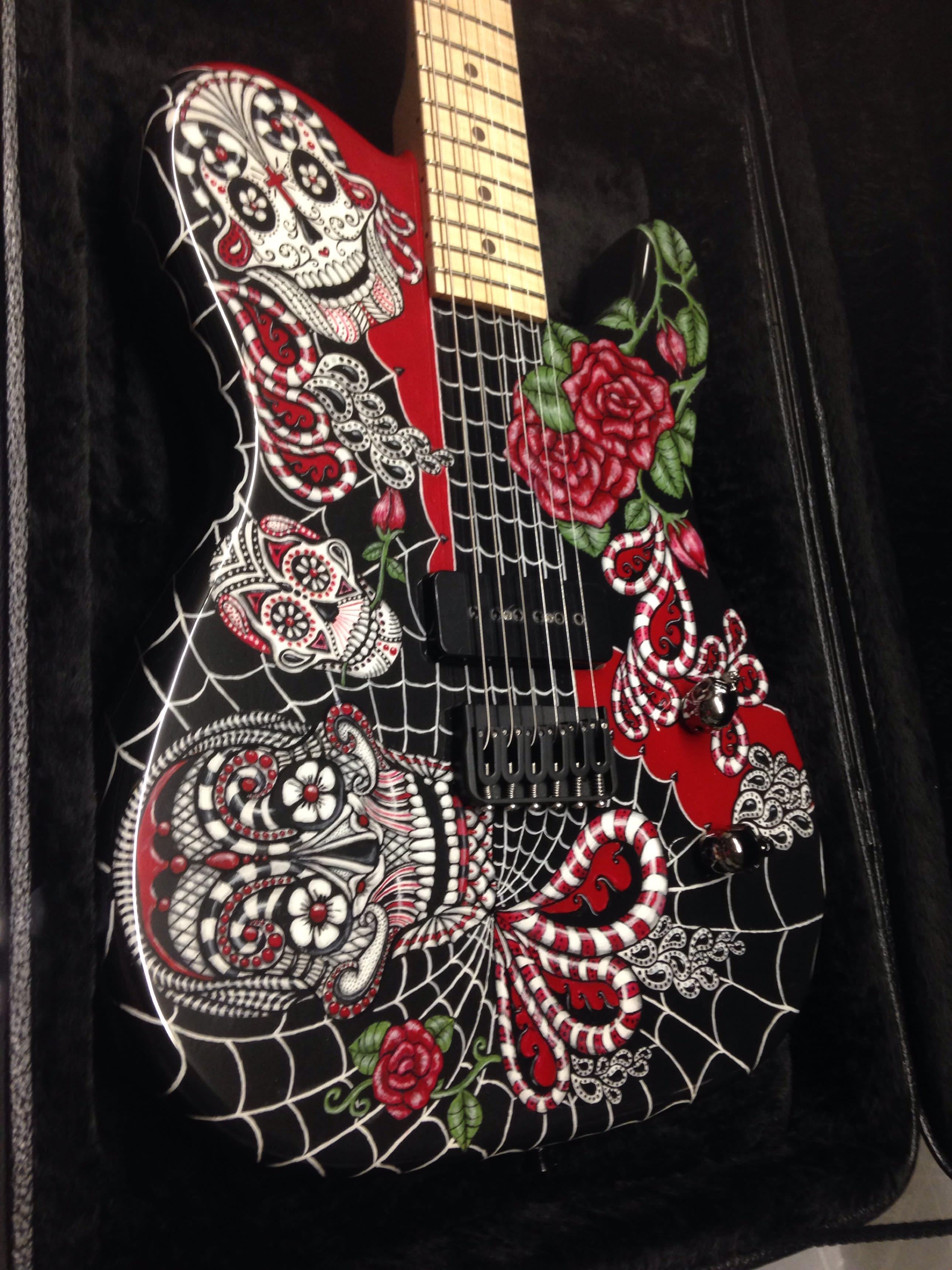Custom Made Guitar Telecaster 2015 Day Of The Dead Original Art