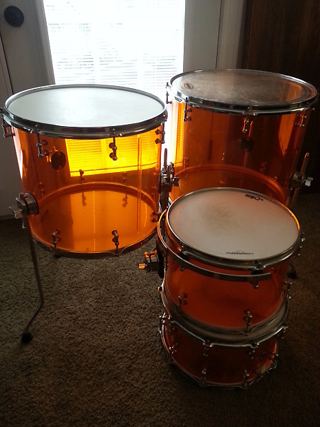 Lady Luck Custom Acrylic Drum Kit 2012 Orange 24x20 18x16