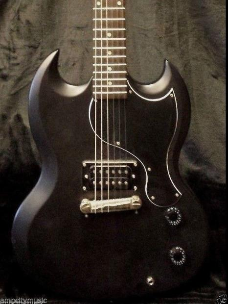 epiphone sg junior limited edition custom shop gothic black electric guitar reverb. Black Bedroom Furniture Sets. Home Design Ideas