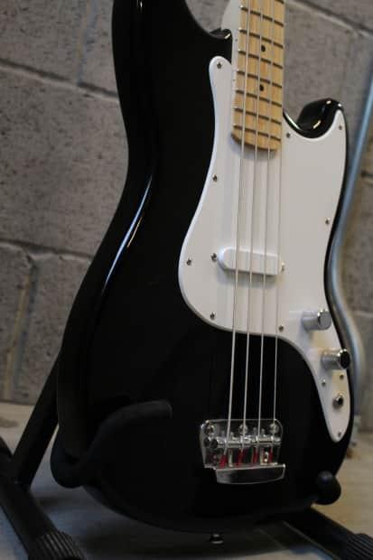 squier bronco short scale bass guitar black gig bag black reverb. Black Bedroom Furniture Sets. Home Design Ideas