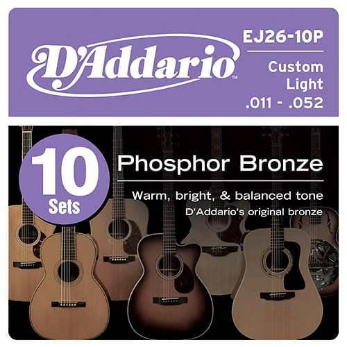 10 pack d 39 addario ej26 phosphor bronze custom light 11 52 reverb. Black Bedroom Furniture Sets. Home Design Ideas