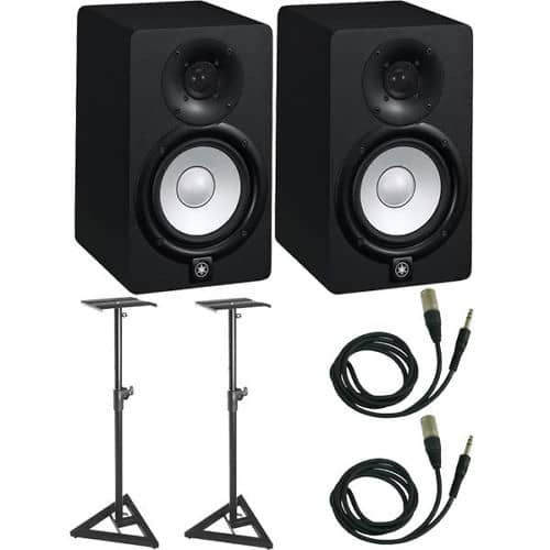 Yamaha hs5 5 powered studio monitor pair with stands for Yamaha hs5 speaker stands