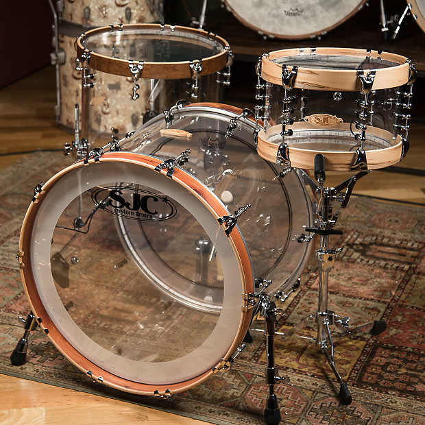 sjc custom 12 16 22 3pc clear acrylic drum kit w wood hoops reverb. Black Bedroom Furniture Sets. Home Design Ideas