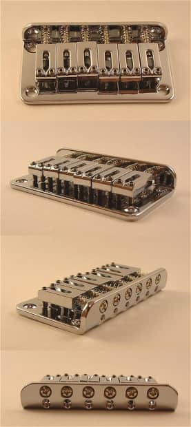 guitar parts 6 saddle hardtail bridge top load chrome reverb. Black Bedroom Furniture Sets. Home Design Ideas
