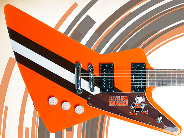 Cleveland Browns Tribute Custom Guitar Explorer 1 Of 2 Nfl