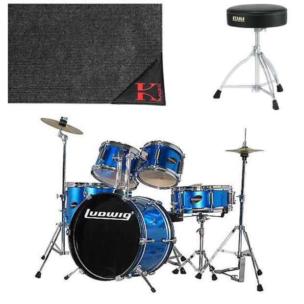 ludwig ljr1062 junior 5 piece drum set blue with cymbals leg throne and drum rug reverb. Black Bedroom Furniture Sets. Home Design Ideas