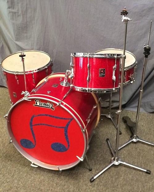 vintage 60s premier 57 red glitter sparkle drum kit w royal reverb. Black Bedroom Furniture Sets. Home Design Ideas
