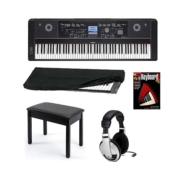 yamaha dgx650 digital piano in black with bench headphones reverb. Black Bedroom Furniture Sets. Home Design Ideas