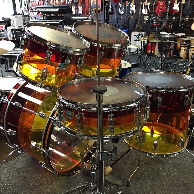 Ludwig Vistalite 5 Piece 1970s Tequila Sunrise Drum Kit