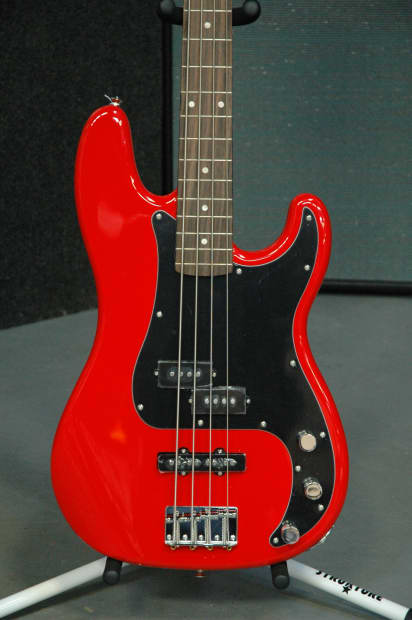 squier affinity series p j bass race red reverb. Black Bedroom Furniture Sets. Home Design Ideas