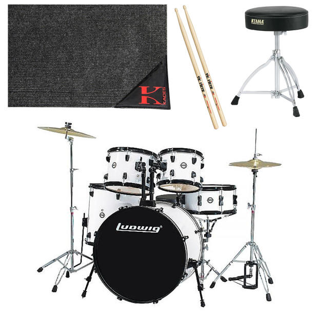 ludwig lc1708 accent fuse 5 pc drum set white finish w hardware pedal extra accessories. Black Bedroom Furniture Sets. Home Design Ideas