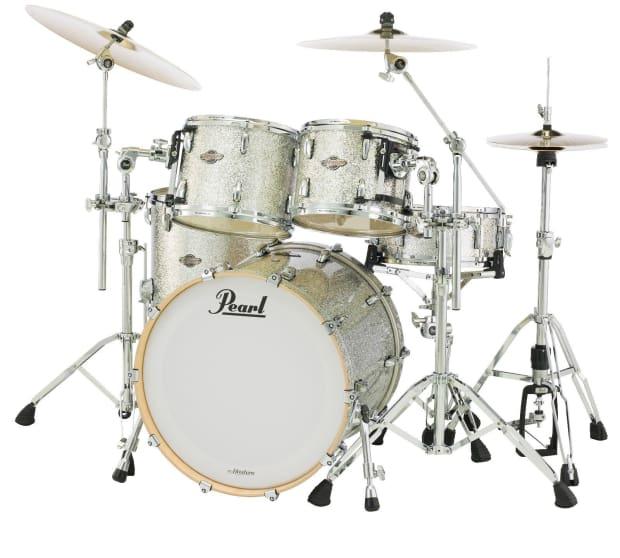 pearl bcx silver glitter new 4pc 22x18 10x8 12x9 16x16 drum reverb. Black Bedroom Furniture Sets. Home Design Ideas