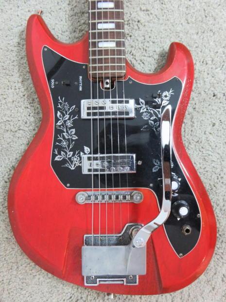 vintage 1960s teisco spectrum red electric guitar 2 pu mij reverb. Black Bedroom Furniture Sets. Home Design Ideas