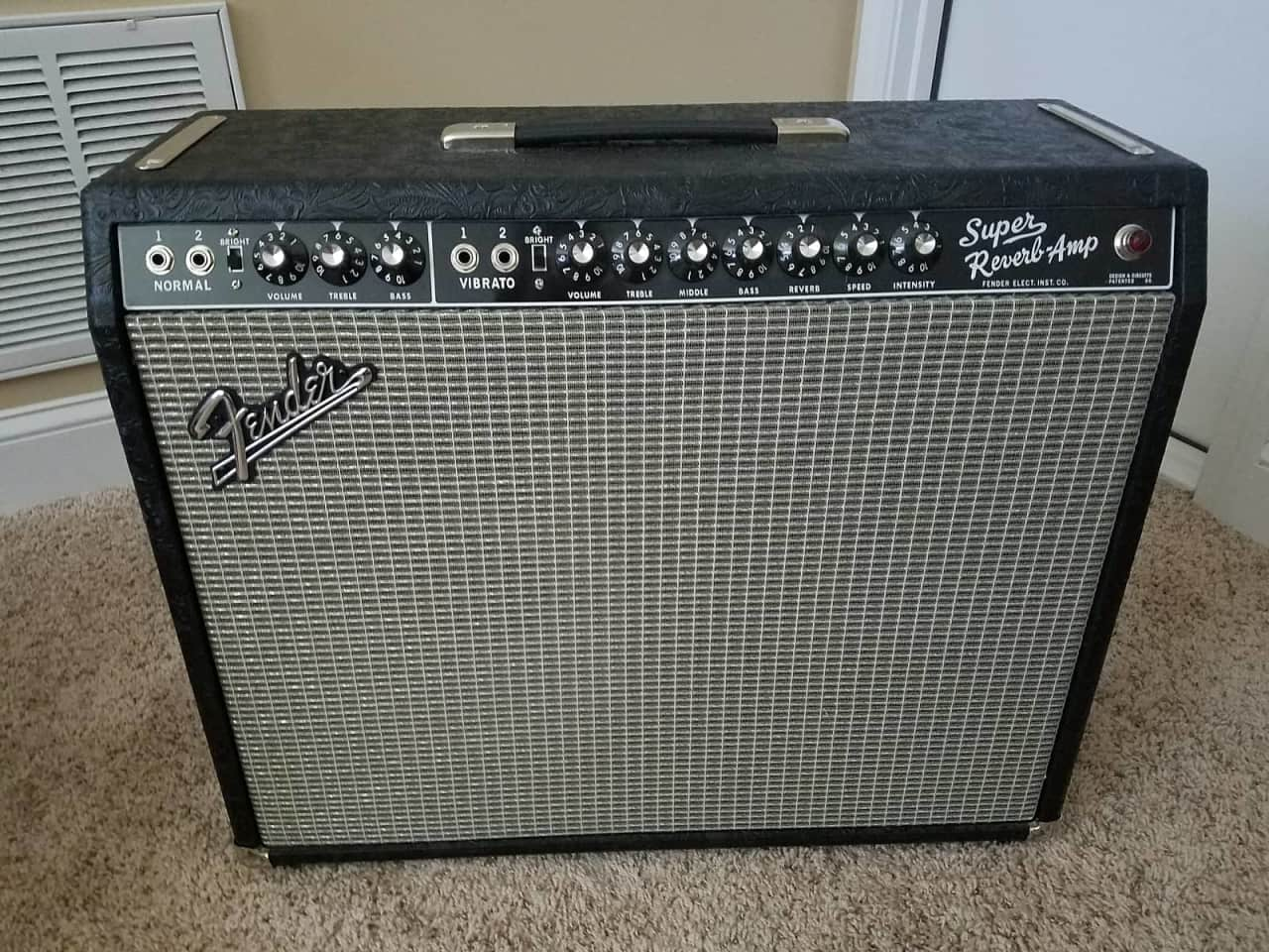 dating super reverb amp I have on the store bench, a silver face super reverb transformers, speakers, date '74 pots date '73 the amp it totally unmolested it's been.