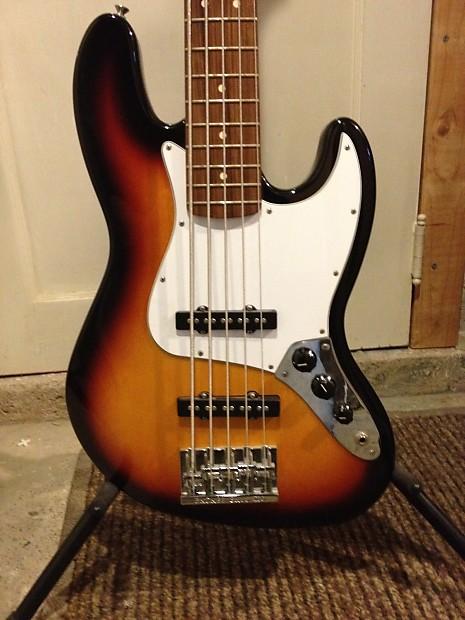 fender standard jazz bass sunburst 5 string w bass extender reverb. Black Bedroom Furniture Sets. Home Design Ideas