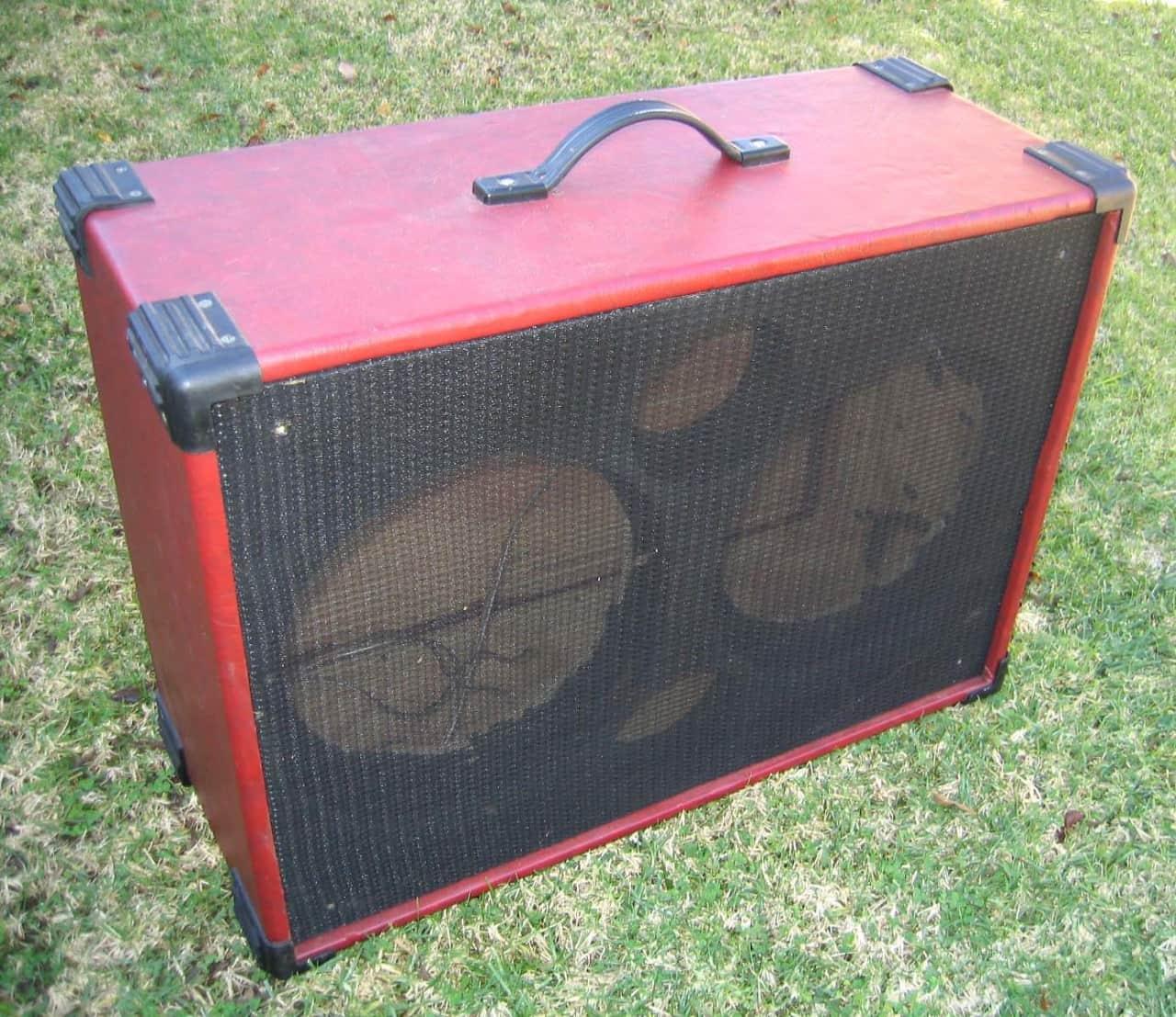 Custom 2x12 Red Tolex Guitar Extension Cab Empty Reverb