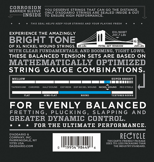 d 39 addario exl160bt balanced tension nickel wound medium reverb. Black Bedroom Furniture Sets. Home Design Ideas