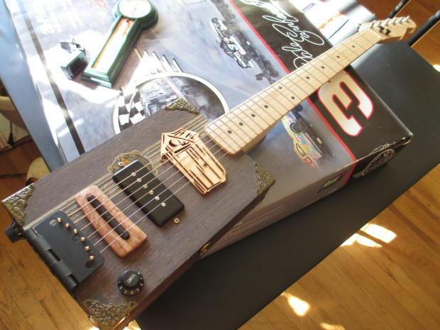 custom built acoustic electric cigar box guitar 6 string w maple telecaster neck p90 pickup reverb. Black Bedroom Furniture Sets. Home Design Ideas