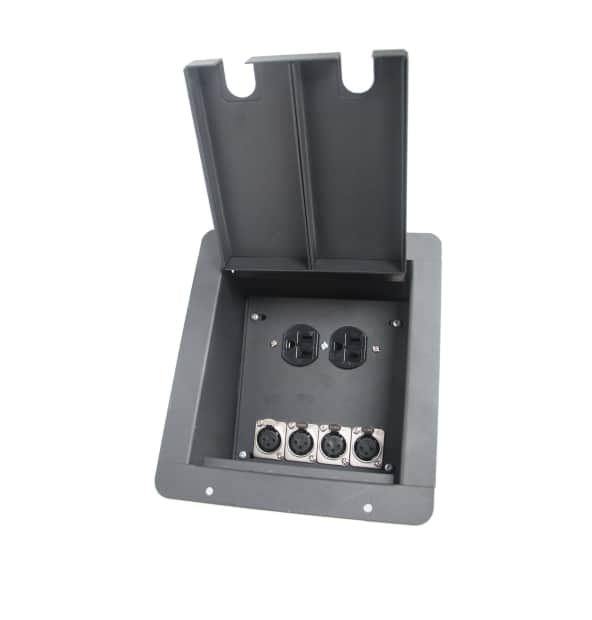 Elite core recessed stage floor box w 4 xlr female mic for Xlr floor box
