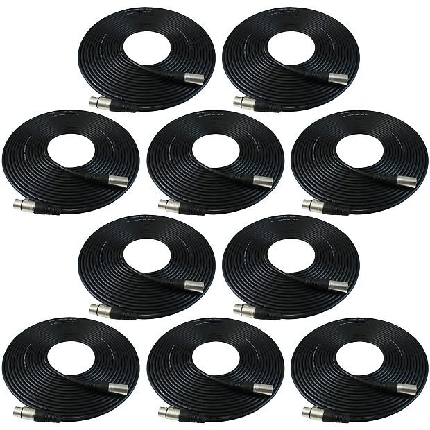 Gls Audio 30ft Black 10 Pack Mic Cable Xlr M To Xlr F
