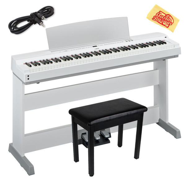 Yamaha p 255wh digital piano white w l 255 stand lp for Yamaha white piano bench