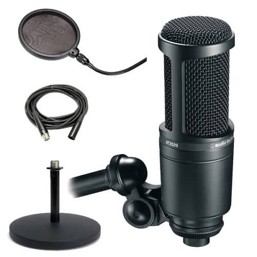 audio technica at2020 recording condenser mic with desktop reverb. Black Bedroom Furniture Sets. Home Design Ideas