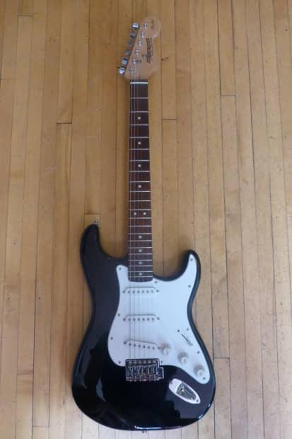 fender starcaster strat electric guitar black reverb. Black Bedroom Furniture Sets. Home Design Ideas