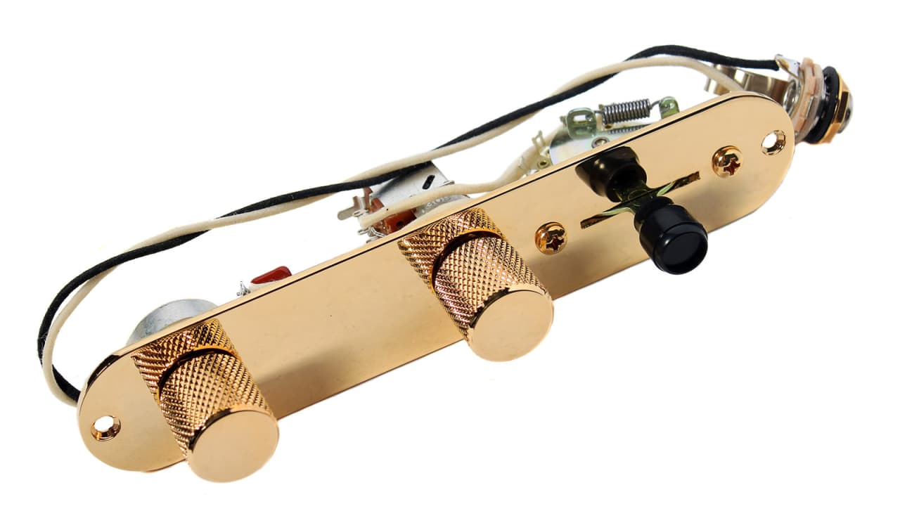 Fender Telecaster 7 Way Reverse Loaded Control Plate Gold