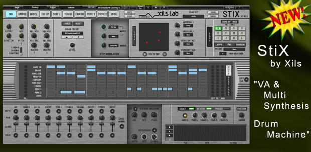 new xils lab stix drum machine synthesizer xox sequencing plugin software for mac pc. Black Bedroom Furniture Sets. Home Design Ideas