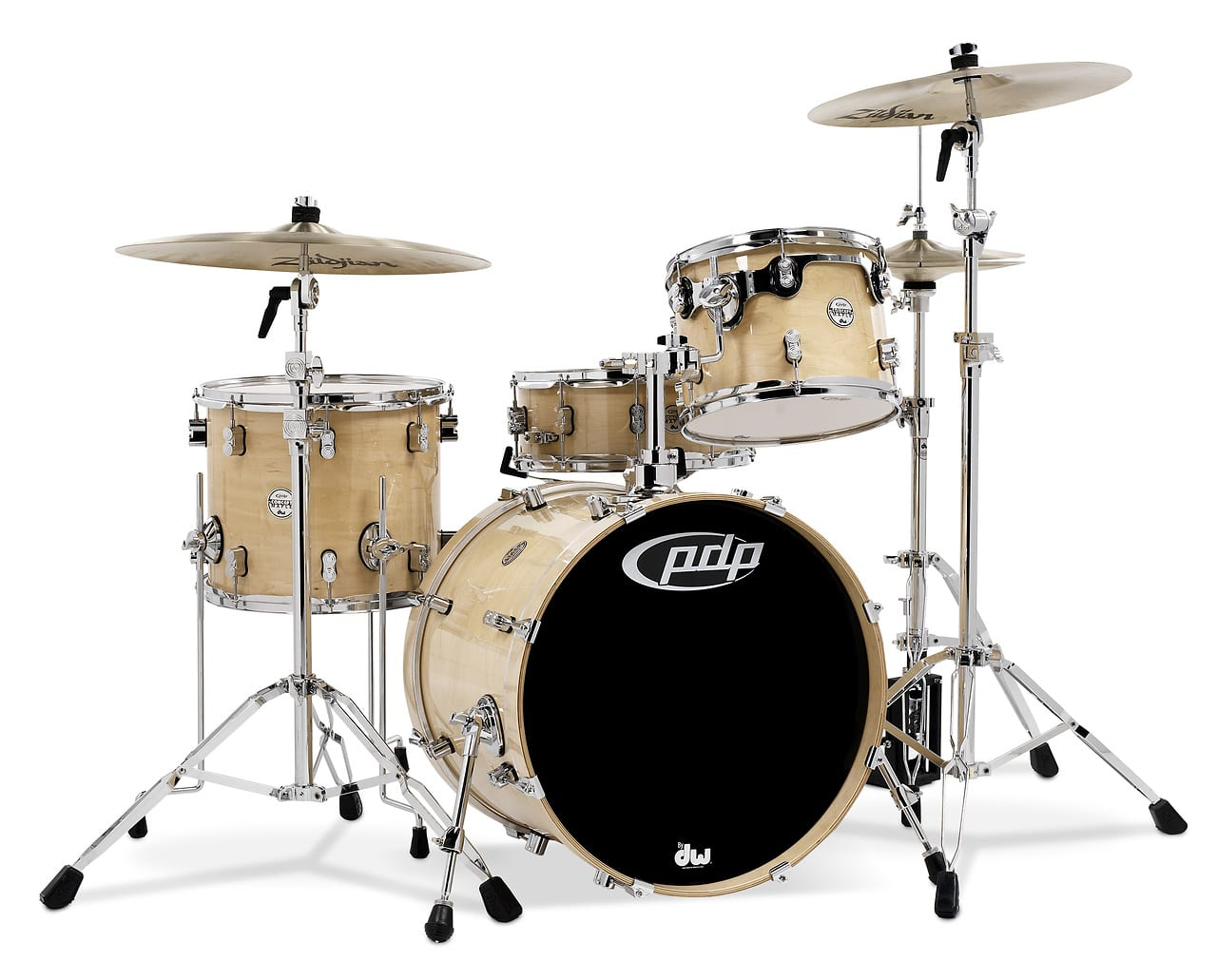Concept maple by dw natural chrome hw 4 pcs 16x20 bass for 16 x 12 floor tom